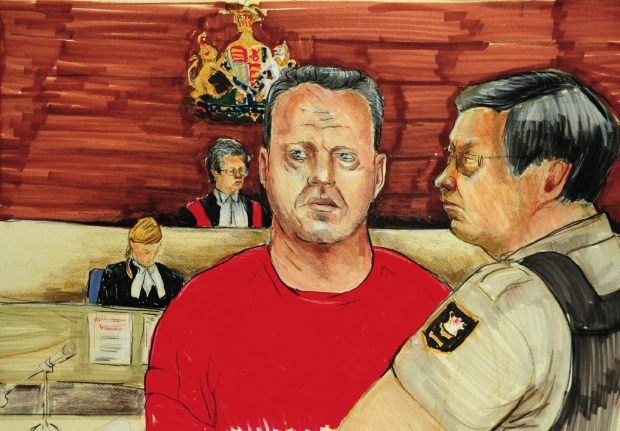 An artist's drawing shows fraudster Ian Thow in front of Judge Jocelyn Palmer in provincial court in Vancouver in 2010.