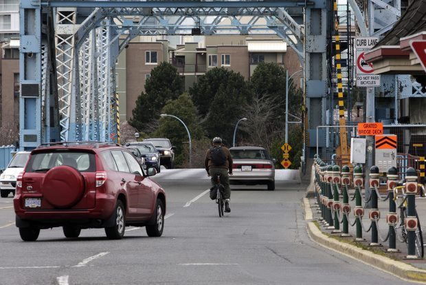 The City of Victoria closed the rail bridge side of the Johnson Street Bridge Saturday - which could mean congested car and cyclist traffic in the remaining open lanes.