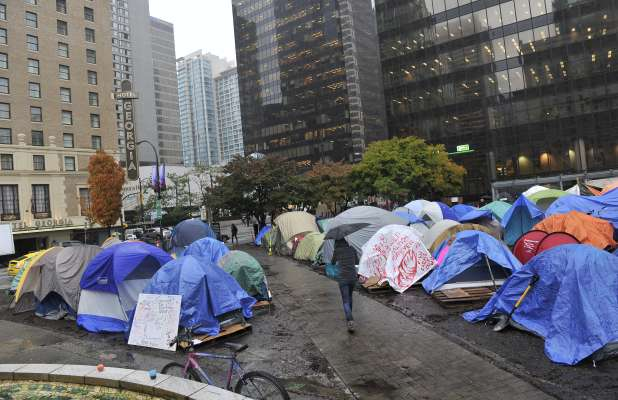A woman died at the Occupy Vancouver site Saturday, according to reports.