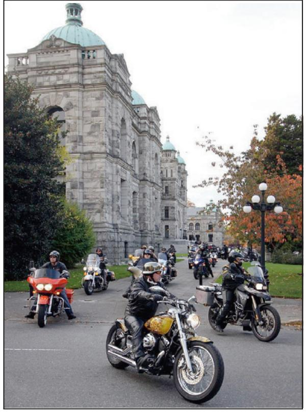 Motorcyclists at the legislature.