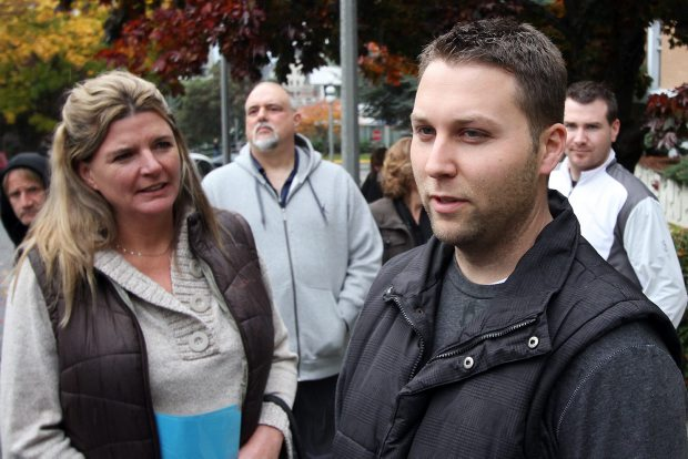 "Colin Ralph, right, the son of Martha Ralph who was killed with her partner Larry Machnee on the Malahat, speaks to the media after the sentencing of Lucas Brown at the courthouse on Monday. Ralph called Brown's courtroom apology ""utter crap."""