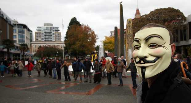 A man at the Occupy Victoria camp at Centennial Square in Victoria on Nov. 7, 2011.