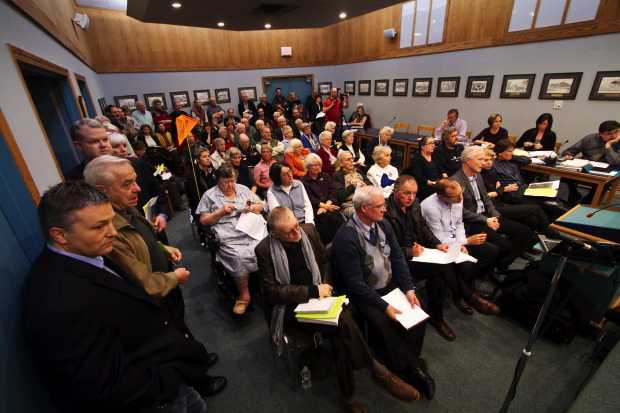 Residents fill the Oak Bay council chambers as council delays the decision on the future of the Oak Bay Lodge on Nov. 14, 2011.