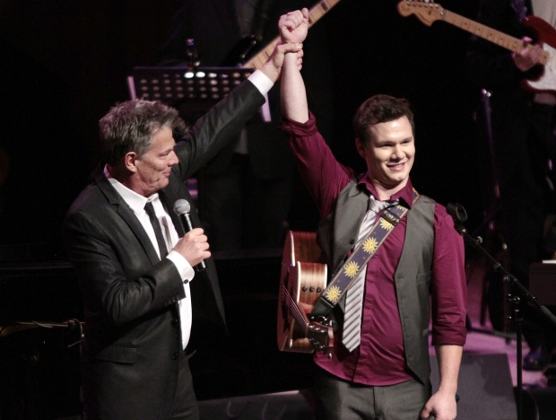David Foster with Mount Doug Idol winner Kale Penny at the Farquhar Auditorium on Saturday night.