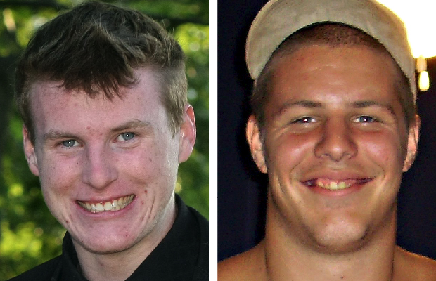 Victim Tyler Noble, left, and accused killer Brandon Huth.