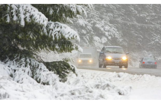 As much as 5 cm of snow could fall near the Malahat Wednesday night, as seen in this 2009 file photo.