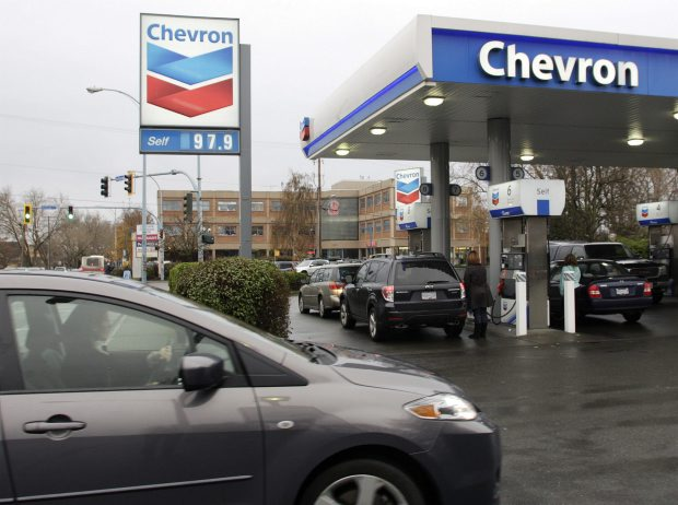 Gas sells for 97.9 cents a litre at a Chevron station at Shelbourne and Hillside streets in Victoria.