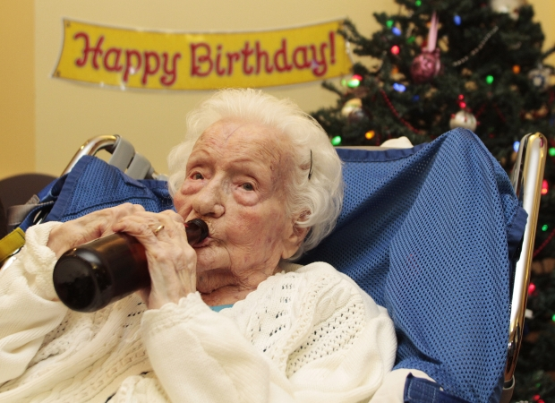 Merle Barwis celebrated her 111th birthday with a beer Friday at the Priory Hospital in Langford.