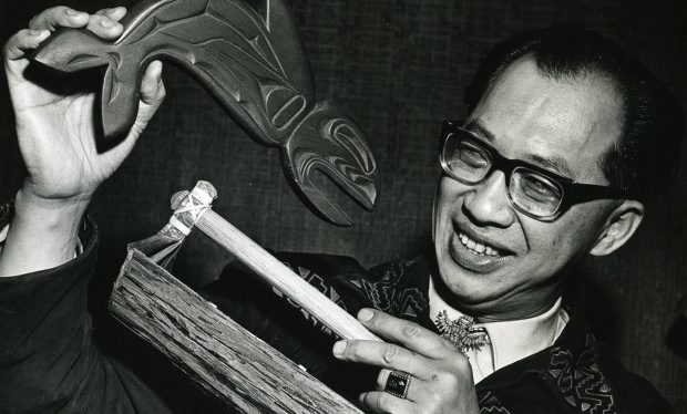 Jack Tang with some of the gifts he received after being made an honorary chief by an Alert Bay band in 1968.