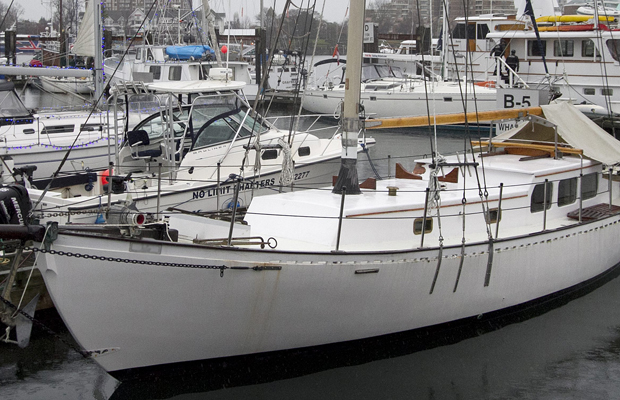 Matthew Huszar's boat moored in Victoria Wednesday. The name of the boat has been obscured at the request of the Huszar family.