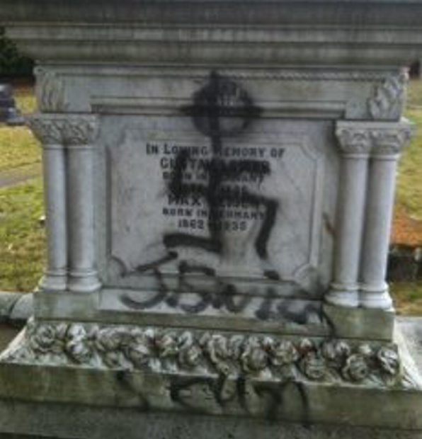 Swastikas were painted on five graves in the Jewish cemetery on Dec. 31.