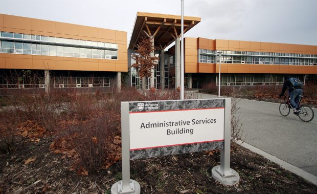 The Administrative Services Building at the University of Victoria. Thieves broke in and stole a storage device that contained employee names, payroll information and social insurance numbers.