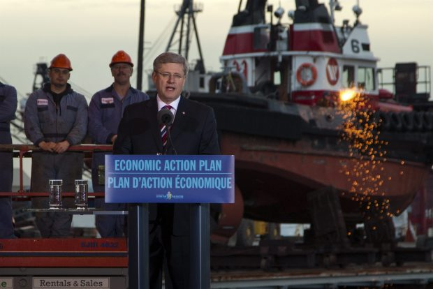 In Vancouver on Thursday, Prime Minister Stephen Harper announces new umbrella deals for shipbuilding on Canada's west and esat coasts.