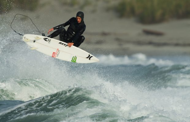 Tofino-based surfer Peter Devries rides the waves around the Great Bear Rainforest for the documentary about the area.