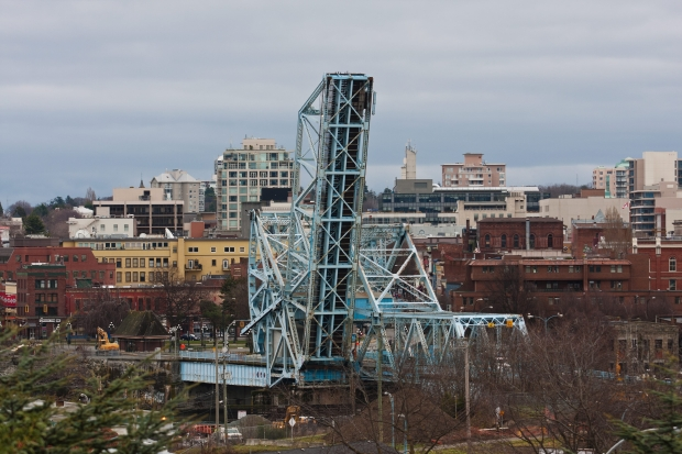 Monday: View of the Johnson Street Bridge from the Promontory condominium site in Victoria