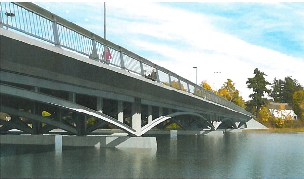 View looking north of proposed Craigflower Bridge