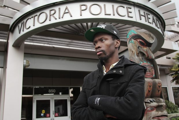 Former cook at Wharfside Seafood Grille Beric Ofori at the Victoria Police Headquarters after filing a complaint against former manager Duncan Morrison for unpaid wages. (Feb. 2012)