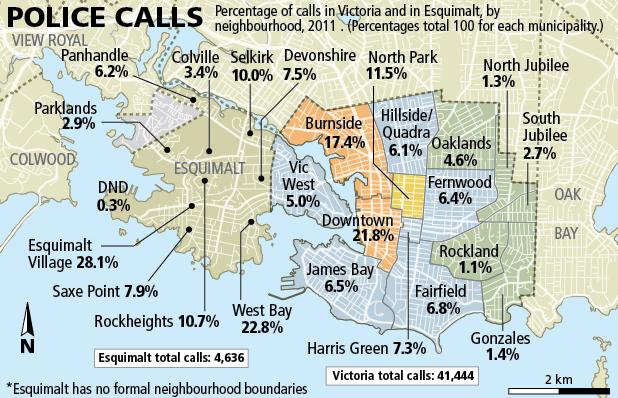 Where police were called in Esquimalt and Victoria