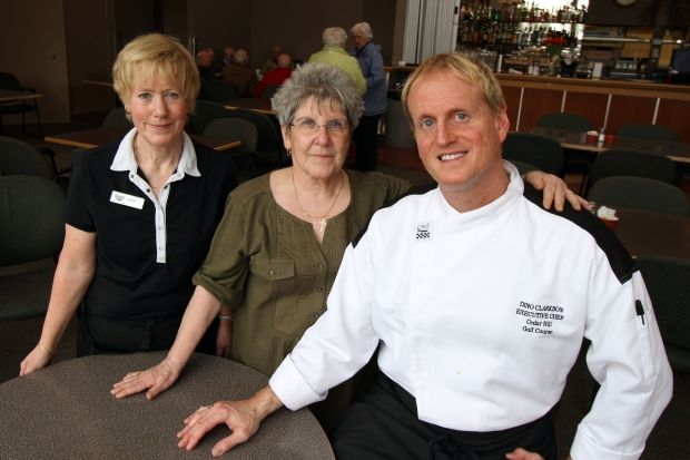 The restaurant's chef, Dino Clarkson, with hostesses Cheryl Scutt, left, and Terrie Capello.