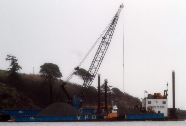 Rocks are ready to be dropped into the water at Esquimalt Harbour, creating a reef the size of a hockey rink.