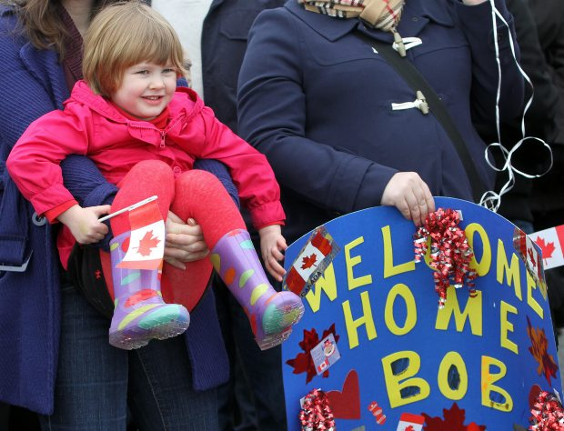 Danica Freistadt, 4, waits for her dad, as the HMCS Vancouver returns to port.