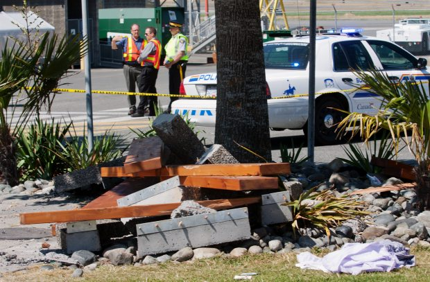 The remains of a picnic table that was destroyed when a car crashed at Victoria airport last July.
