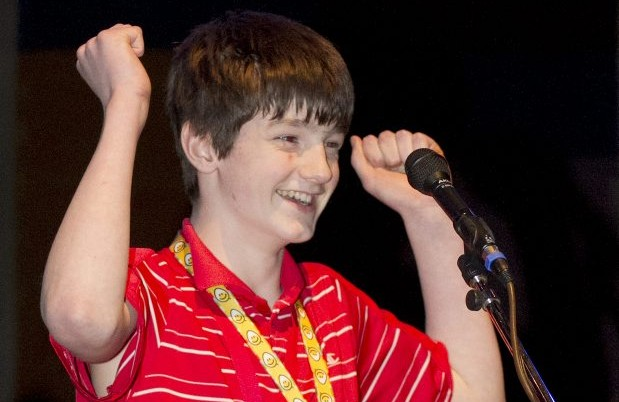 David Underhill celebrates his victory at the Times Colonist regional spelling bee at the University of Victoria's Farquhar Auditorium. The winning word: pyromaniac.