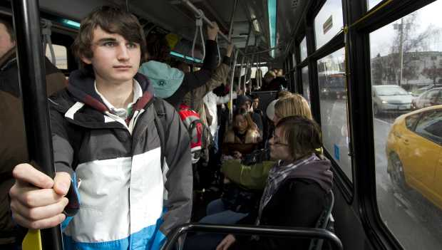 For University of Victoria student Dallas Cox, it's standing room only on a B.C. Transit bus Wednesday. A poll commissioned by the bus drivers' union says that riders are frustrated by overcrowding and long waits, and want control of the service shifted from the province to local hands.