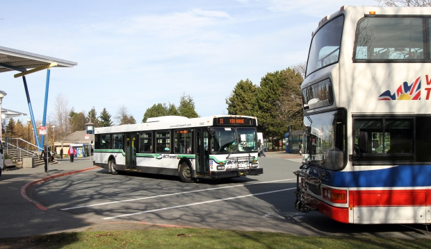 The transit bus exchange at University of Victoria is at capacity during peak times, handling 51 buses on weekdays between 8 a.m. and 9 a.m.