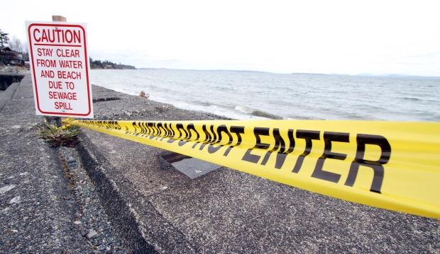 A sewage spill has forced the closing of Cordova Bay beach.