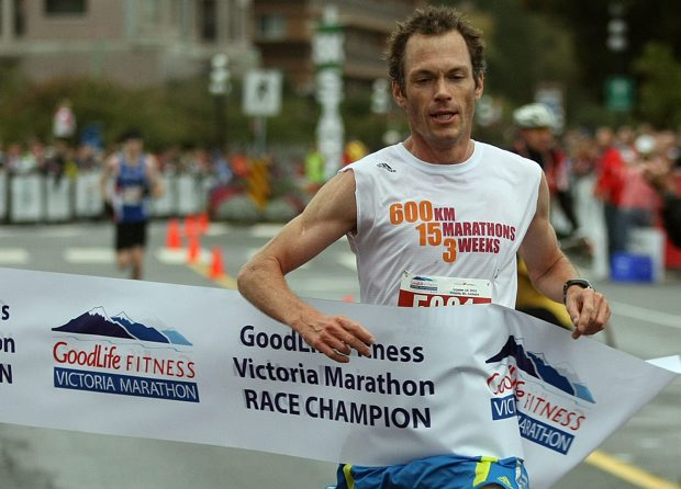 Jim Finlayson wins the men's half-marathon during the 2010 Goodlife Fitness Victoria Marathon. The running coach was diagnosed with multiple sclerosis in 2009.