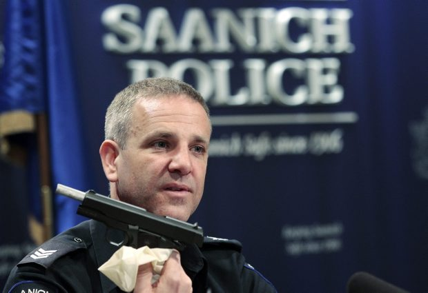 Dean Jantzen, Saanich Police holds a knife taken from a 20-year-old male.