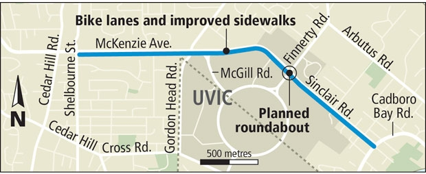 Plans call for upgrades along the McKenzie Avenue approach to the University of Victoria, including bike lanes, sidewalks and a roundabout