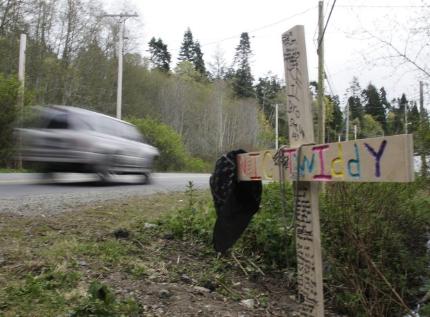 Roadside memorial for 15-year-old Nic Twiddy.