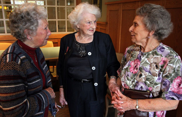 Olive Bailey, centre, speaks with Edna Steel, left, and Lil Sotheran at Berwick House on Shelbourne Street on Wednesday. Bailey worked deciphering German codes in the Second World War.