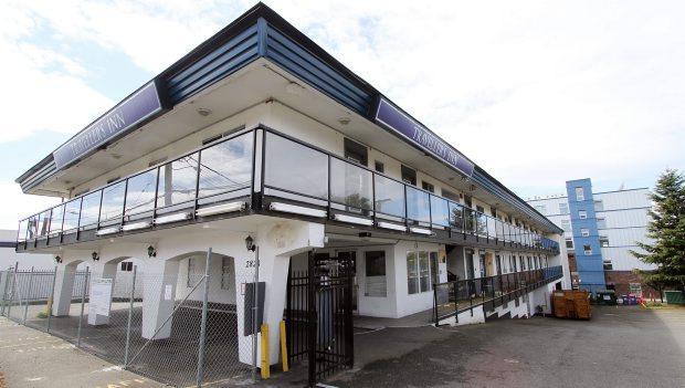 The former Travellers Inn at 2828 Rock Bay Ave. would be converted into 55 rental units.
