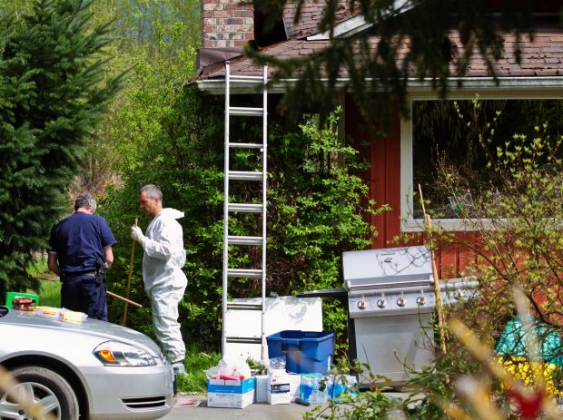 Police search for evidence in two homicides at William Gordon Robert Elliott's home on Mission Road in Duncan
