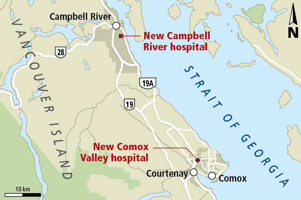 Likely locations for new hospitals in Campbell River and the Comox Valley