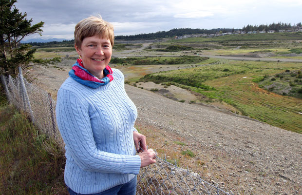 "Colwood Mayor Carol Hamilton, in front of Royal Bay Lands, says ""we can do just about anything"" on the 170-hectare oceanfront property."