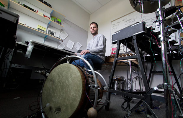 George Tzanetakis uses instruments such as a robotic drum to learn about music and to help people with disabilities.