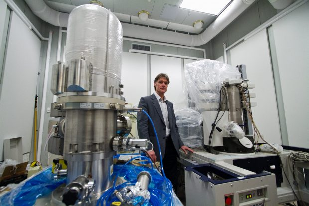 UVic associate professor Rodney Herring with the world's most powerful microscope.