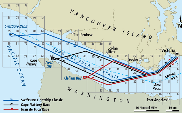 Map of the Swiftsure race routes.