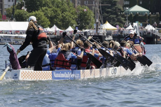 BLU BY U of Nanaimo competes at last year's Victoria Dragon Boat Festival. Organizers are hoping to reduce waste through composting and recycling at this year's event, which is scheduled to take place Aug. 17 to 19.