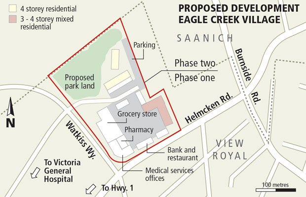 The developer wants to begin construction next spring at the 5.8-hectare site located at the intersection of Helmcken Road and Watkiss Way in View Royal.