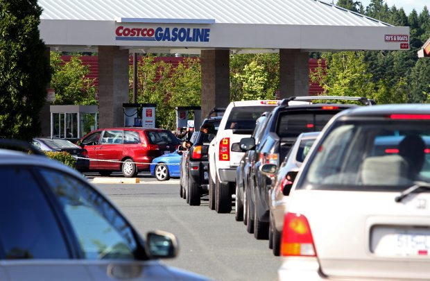 Motorists line up to buy gas at Cosco at $1.029 a litre.