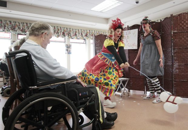 Members of the Sunshine Clown Society put on a show for the residents of Beacon Hill Villa. The non-profit group, made up of five volunteers, does much of its own entertaining at seniors' facilities, but also appears at other venues and private parties. Plans for 2012-2013 include training more clowns so the band can visit more seniors' homes.