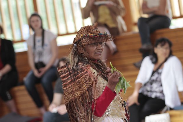 "Dell Rice-Sylverster expounds on traditional medicine at Camosun College during celebrations of National Aboriginal Day on Thursday — on the same day that ""language champions"" launched a major web-based project."