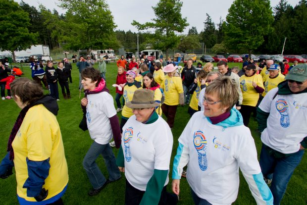 The Relay for Life starts in blustery conditions at Juan de Fuca Recreation Centre.