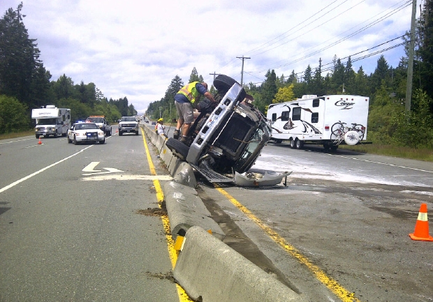 A truck flipped on the Trans Canada Highway on Friday
