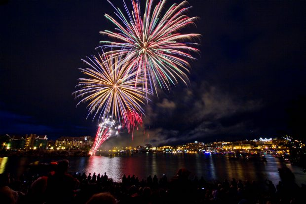 Fireworks light up the Inner Harbour as seen from Laurel Point on Canada Day in Victoria.